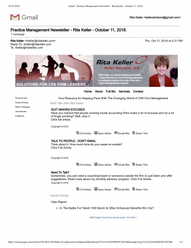 Gmail - Practice Management Newsletter - Rita Keller - October 11, 2018_